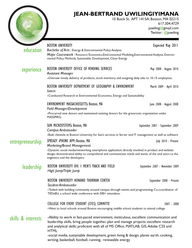Resume | Socially Sustainable